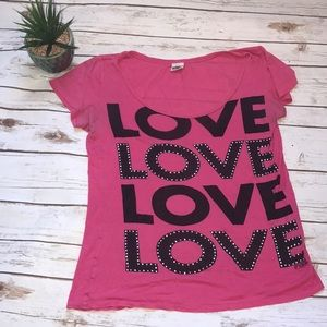🎄Pink Size Small Love Bejeweled Tee Shirt Size Sm